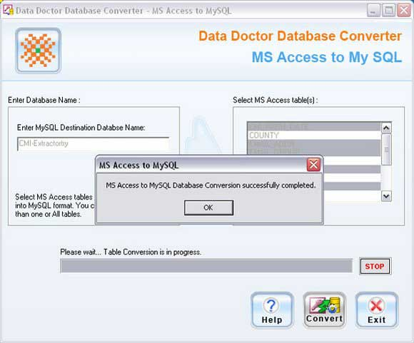Screenshot vom Programm: MS Access To MySQL Converter