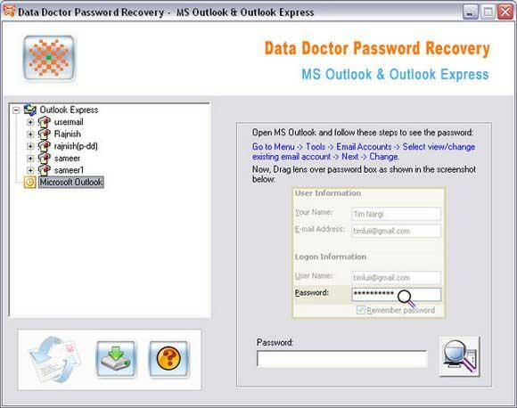 Outlook Password Finder screenshot